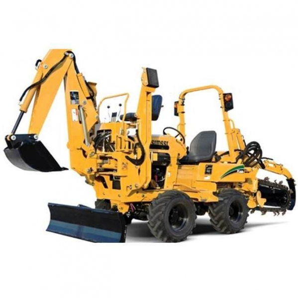 Vermeer RT450 Trencher with Backhoe Implement for rent sunflower equipment rental topeka lawrence blue springs kansas missouri