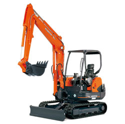 kubota mini excavator trac hoe for Rent Sunflower Rental Topeka Lawrence Blue Springs Kansas