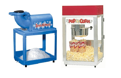 SnoKone snowcone Popcorn Projector for Rent sunflower Rental Topeka Lawrence Blue Springs Kansas